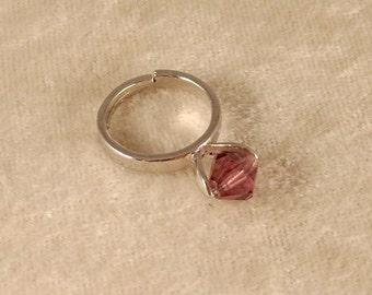 Amethyst Swarovski Crystal Ring
