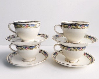 Vintage Homer Laughlin Teacups & Saucers - Set of 4, Blue and Yellow Band with Roses