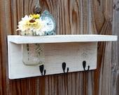 Rustic wood shelf, distressed mason jar decor, Antique White Wall Decor ,cottage beach home decor,wall shelves