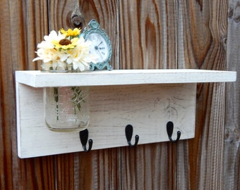 Rustic wood shelf, distressed mason jar decor, Antique White Wall Decor ,cottage beach home decor,wall shelves