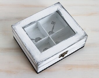 White Tea Wooden Box, Wooden Tea Box, Tea Box Container, Shabby Chic tea box / storage box/, Jewelry box, Jewelry Organizer
