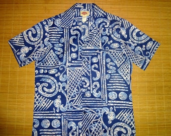 Mens Vintage 70s Pomare Tribal DANCE Hawaiian Aloha Shirt - L - The Hana Shirt Co