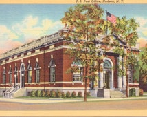 Hudson, New York, Post Office - Linen Postcard - Unused (A11)
