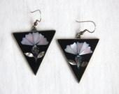 Abalone Lotus Dangle Earrings Vintage Mexican Alpaca Black Resin Large Statement Flower Dangles Boho Chic