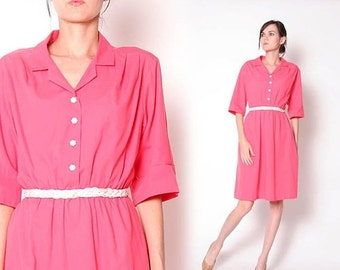 ON SALE Vintage 80s Coral Pink Housewife Dress / S M