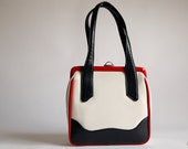 1960s Red White and Blue Retro Vintage Handbag Vinyl Purse