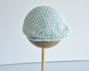 Flat cap -baby -  0 -3 months - soft organic cotton - pale blue - crochet cap- baby