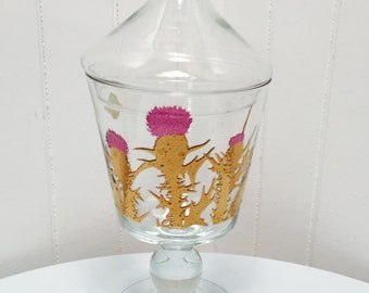 Vintage 1950s West Virginia Glass Company Purple & Gold Candy Jar