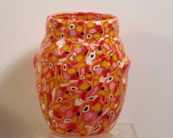 "Enhanced glass vase - ""Candy corn"""