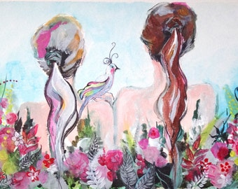 Floral garden fantasy art colorful painting art print - Sisters