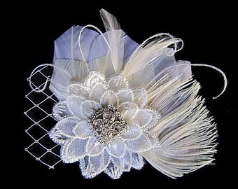CHARLOTTE - Bridal Ivory Soft White Feather Lace Fascinator Hair Clip - Clear Rhinestone
