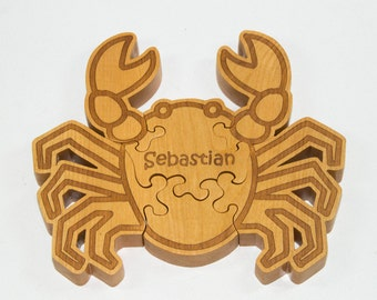 Wooden Animal Puzzle Crab Puzzle Engraved and Personalized For Children