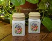 Two Avon Country Garden Charisma Powder Sachet White Milk Glass Bottles
