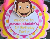 Curious George Birthday Party Door Sign in Pink and Yellow