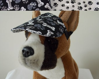 Dog visor, reversible (two fabrics), comfortable and colorful. V7   Can be personalized.