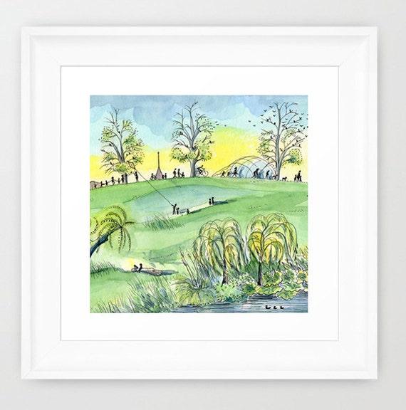 London Watercolor Print. Green watercolor painting print. London print. Modern watercolor illustration print. Book illustration art print