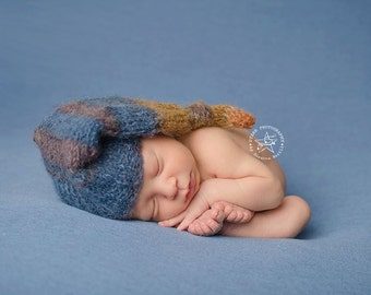 new born mohair sleeping hat,baby boy prop,knitted sleeping hat