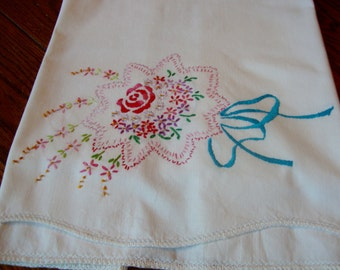 Single Embroidered Pillowcase White Cotton with Floral Embroidery Pink and Aqua Vintage Pillow Cover