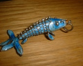 Large FISH Articulated Cloissone KOI for LUCK Totem Animal Fertility ReBirth Enamel and Silver