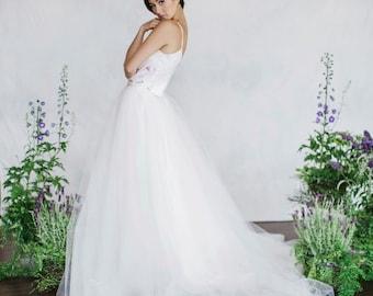 Bridal Separates, Bridal skirt, Silk top, Tulle skirt, Wedding top, Wedding skirt, Modular pieces, Boho bride, Modern bride, Floral print