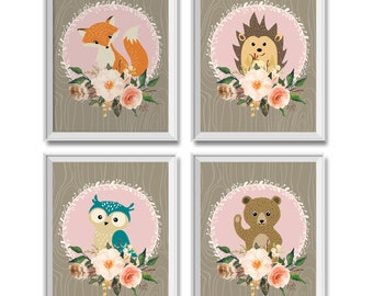 Woodland Nursery Decor Girl, Woodland Animals Nursery Decor Girl, Woodland Animals, Fox, Owl, Bear, Hedgehog, Woodland Animals Art Prints