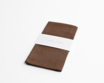Walnut brown hankie, dark brown pocket square