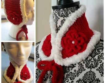 Medium/Large Hand Knit Kids , Adult Neck Warmer, Ear Warmer