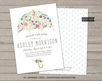 Floral Umbrella Baby Shower or Sprinkle Invitation // Digital or Printed (FREE SHIPPING!)
