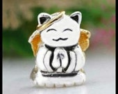 PURRfect CAT with 18KGP Gold ANGeL WiNGS & Halo - CaT LOVeR - Excellent Quality Charm Bead - fits European Bracelets - MSG-2159