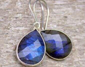 Labradorite Earrings, Blue Gemstone Earrings, Silver Earrings, Sterling Silver Handmade Earrings, Everyday Earrings, Drop Dangle Earrings