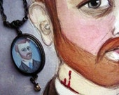 Bram Stoker Portrait Pendant, Dracula Author Literary Necklace, Illustrated Writers Portrait Jewelry