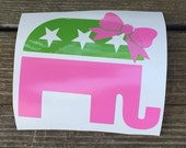 GOP Republican Elephant with bow Vinyl Decal Sticker
