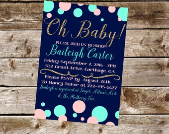 Bubbles and Glitter Baby Shower Invitation Digital Printable File