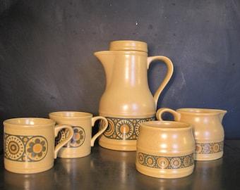 Kiln Craft Bacchus Staffordshire Ironstone-Coffee Pot-Two Mugs-Cream and Sugar