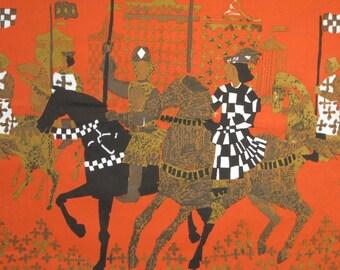 Vintage 1960's Tibor Reich Tournament Textile Fabric Art Panel Design 322A Shakespeare