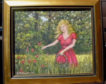 Love is a Rose (C) 2014 by K. McDermott - original framed oil painting