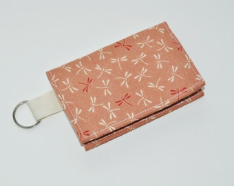 Business Card Case - Fabric Keychain Wallet - Dragonfly Gift Card Sleeve - Business Card Case  - Gift for Her
