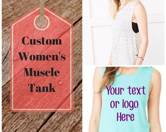 Women's custom Muscle Tank Top/Create your own muscle tank/Bella Canvas Musclet Tank/Custom Loose Tank Top/Women's Active Wear/Women's Yoga