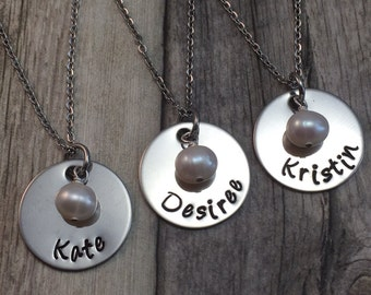 Personalized Bridesmaid set, Custom hand stamped stainless steel necklace set of 3