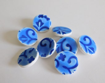 """3/4"""" polymer clay shank buttons, 19 mm buttons, blue sewing buttons"""
