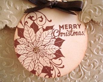 Poinsettia Tags - Merry Christmas Tags - Set of 6