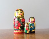 Vintage Soviet / Russian Matryoshka Nesting Dolls - Set of Three