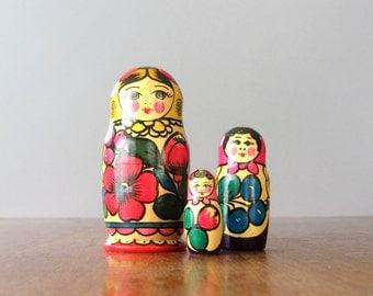 Vintage Soviet / Russian Matryoshka Nesting Dolls - Set of Three