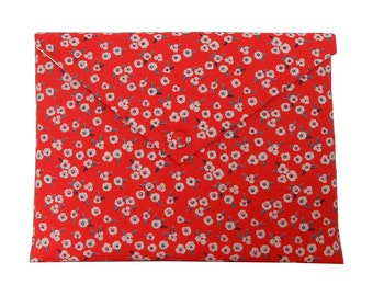 Mac Book Pro 13'' case padded, laptop cover, Mac Book Pro 13'' sleeve - red garance floral fabric