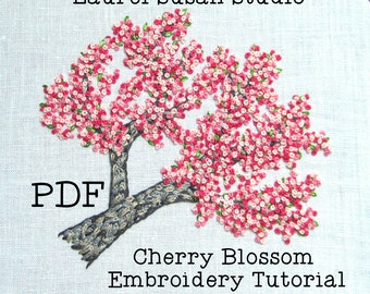 Cherry Blossoms Hand Embroidery Tutorial, Pattern PDF Digital, Pink Spring Flowers