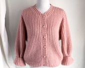 L.L. Bean Pink Mohair Blend Cardigan Sweater, Dolman Sleeves, Size Large