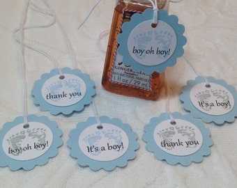 Mini Scallop Soft Blue Baby Feet Tags - Small Favor Tag - Nail Polish Tags - Baby Shower Favor Tag