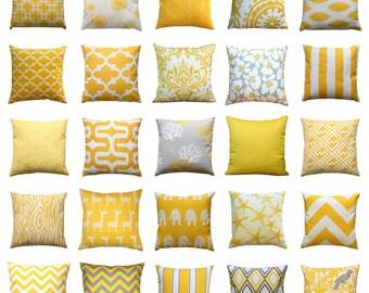 Modern Yellow Pillow, Corn Yellow Pillow Cover, Mustard Pillow Cases, Bright Throw Pillows, 20x20 Zippered Pillow, Yellow Cushion Cover