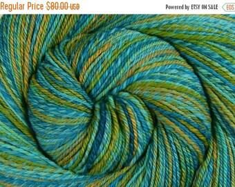 Luxury Handspun Yarn, 3 ply - MOSSY RIVER - Handpainted Ultra Fine 15.5μ Merino wool, Fingering weight, 396 yards