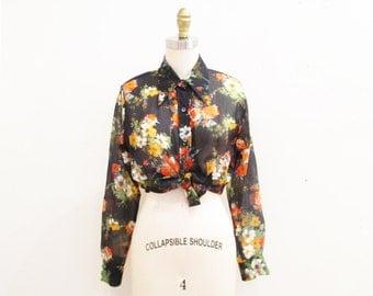 Vintage 1970s Blouse | Bold Sheer Black Floral Print 1970s Boho Blouse | size medium